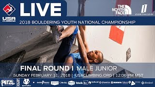 EUROPESE OMROEP | USA Climbing | Male Junior • Finals • 2018 Youth Bouldering Nationals • 2/11/18 12:06 PM | 1518381253 2018-02-11T20:34:13+00:00