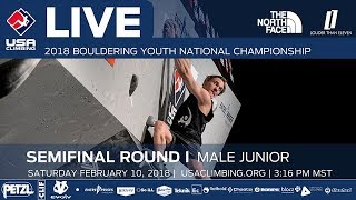 EUROPESE OMROEP | USA Climbing | Male Junior • Semi-Final • 2018 Youth Bouldering Nationals • 2/10/18 3:32 PM | 1518309653 2018-02-11T00:40:53+00:00