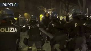 EUROPESE OMROEP | RT | Tear gas & water cannons used during anti-fascists clash in Italy | 1518821898 2018-02-16T22:58:18+00:00