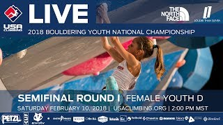 EUROPESE OMROEP | USA Climbing | Female Youth D • Semi-Final • 2018 Youth Bouldering Nationals • 2/10/18 2:00 PM | 1518304453 2018-02-10T23:14:13+00:00