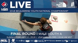EUROPESE OMROEP | USA Climbing | Male Youth A • Finals • 2018 Youth Bouldering Nationals • 2/11/18 10:46 AM | 1518376488 2018-02-11T19:14:48+00:00