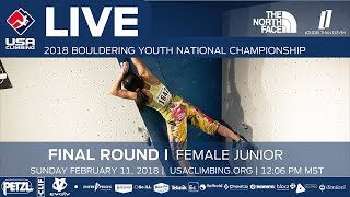 EUROPESE OMROEP | USA Climbing | Female Junior • Finals • 2018 Youth Bouldering Nationals • 2/11/18 12:06 PM | 1518381239 2018-02-11T20:33:59+00:00